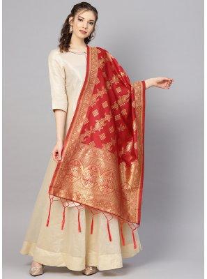 Red Art Banarasi Silk Designer Dupatta