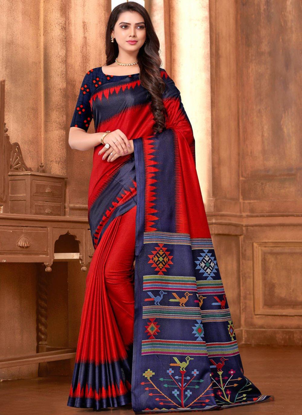 Red Art Silk Abstract Print Traditional Designer Saree