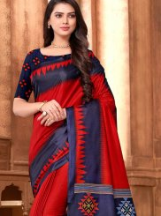 Red Art Silk Abstract Print Traditional Designer Saree
