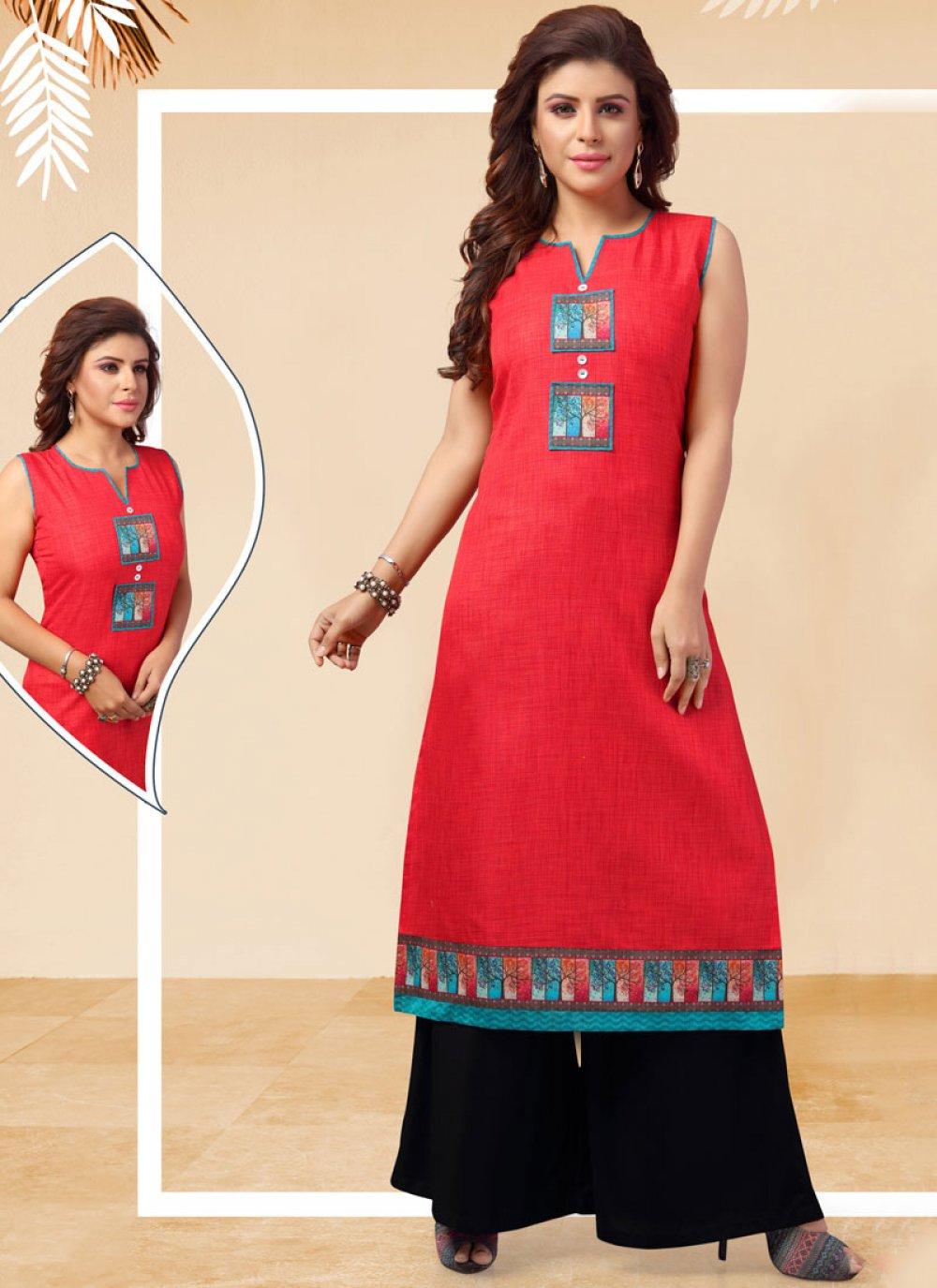 Red Art Silk Casual Kurti