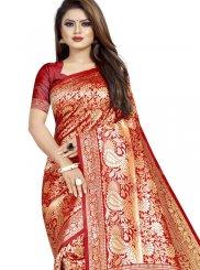 Red Art Silk Casual Saree