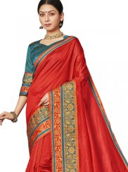 Red Art Silk Ceremonial Designer Saree