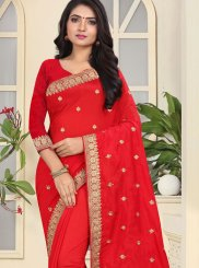 Red Art Silk Ceremonial Designer Traditional Saree