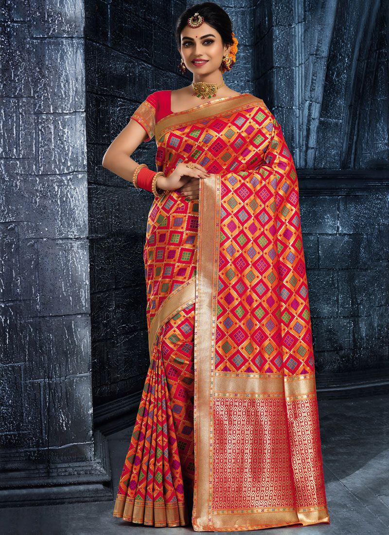 Red Art Silk Classic Saree