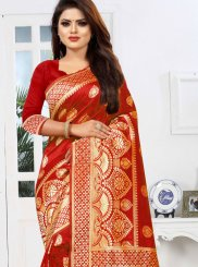Red Art Silk Classic Saree