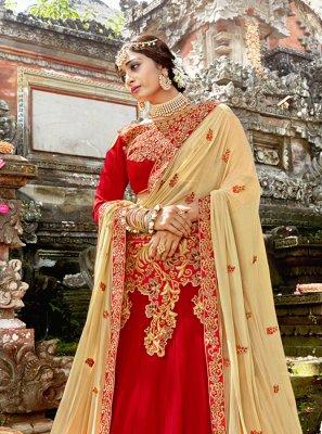 Red Art Silk Designer Lehenga Choli
