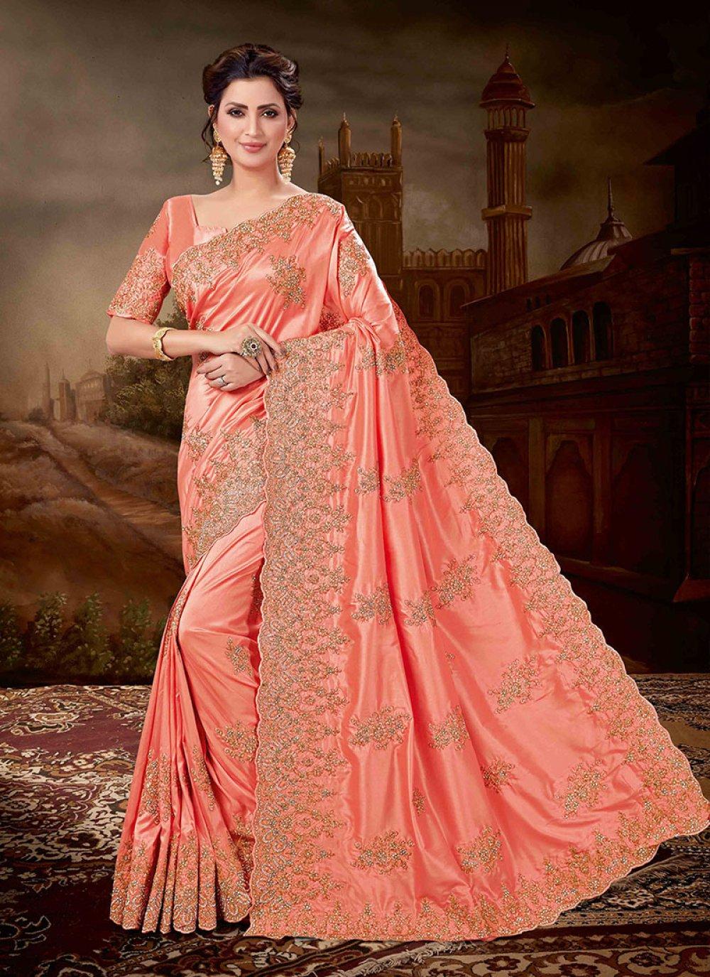 Red Art Silk Embroidered Designer Saree
