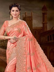 Red Art Silk Embroidered Designer Saree