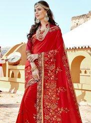 Red Art Silk Embroidered Designer Traditional Saree