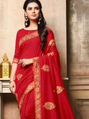 Red Art Silk Embroidered Designer Traditional Saree