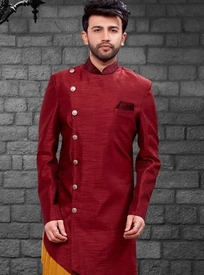 Red Art Silk Embroidered Indo Western