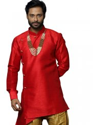 Red Art Silk Embroidered Kurta Pyjama