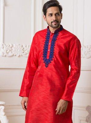 Red Art Silk Embroidered Kurta Pyjama