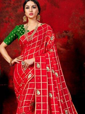 Red Art Silk Fancy Designer Traditional Saree