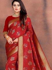 Red Art Silk Festival Traditional Designer Saree