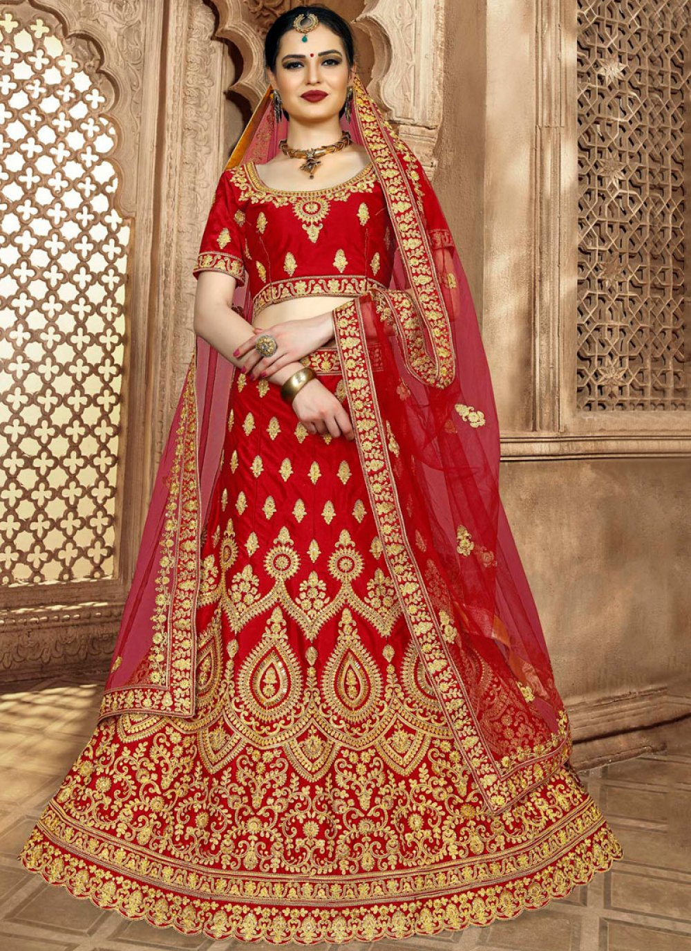 Red Art Silk Lehenga Choli