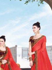 Red Art Silk Mehndi Trendy Saree