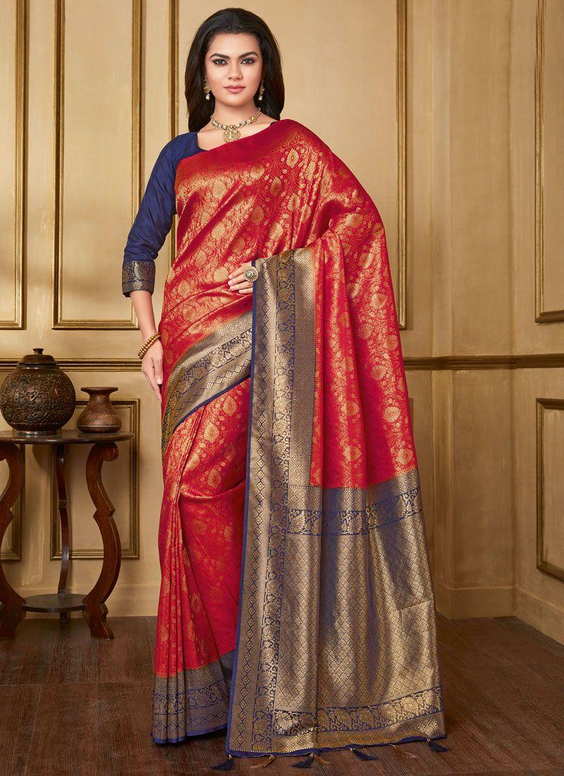 69d90d5a44 Buy Red Art Silk Party Designer Saree Online : 113157 -