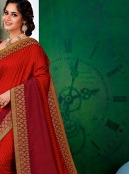 Red Art Silk Patch Border Shaded Saree