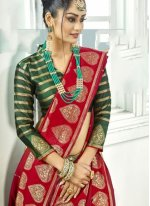 Red Art Silk Traditional Designer Saree