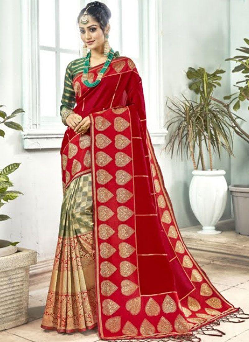 Red Art Silk Traditional Designer Saree