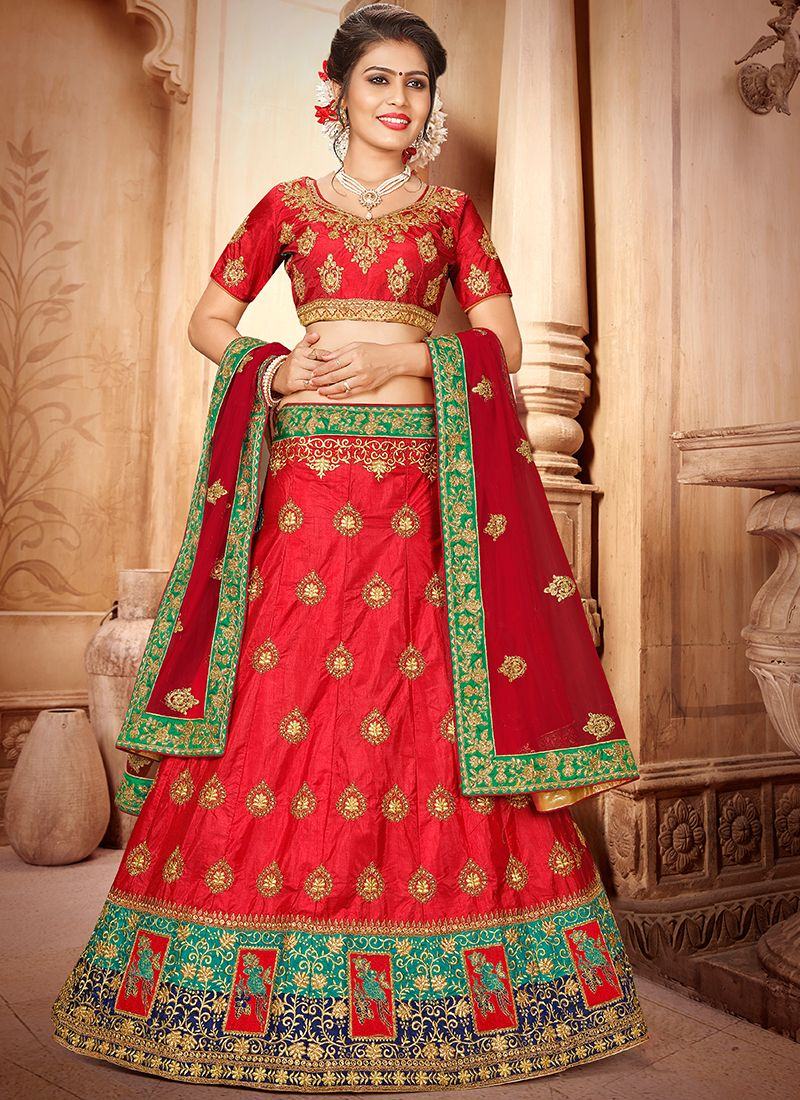 Red Art Silk Trendy Lehenga Choli