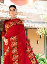Red Art Silk Trendy Saree