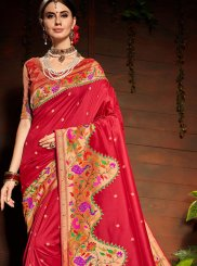 Red Art Silk Weaving Classic Saree