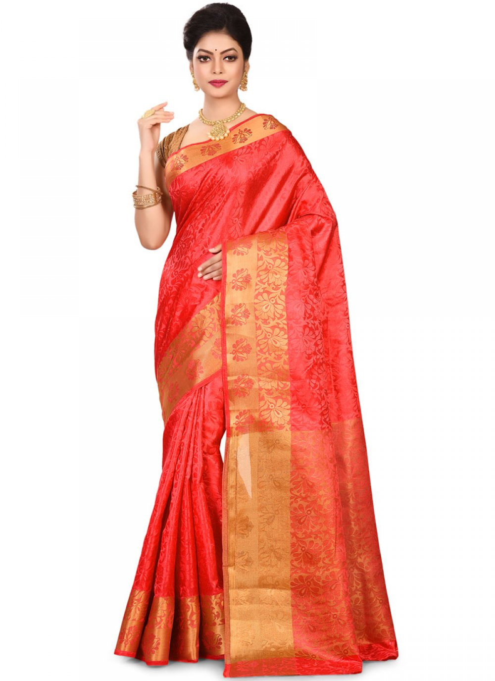 Red Art Silk Weaving Designer Traditional Saree