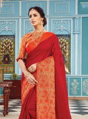 Red Art Silk Woven Designer Traditional Saree