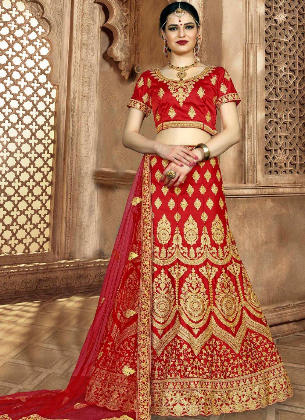 Red Art Silk Zari Lehenga Choli