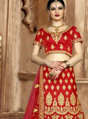Red Art Silk Zari Lehenga Choli