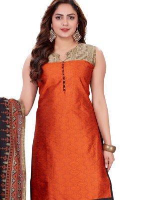 Red Banarasi Silk Print Churidar Salwar Suit