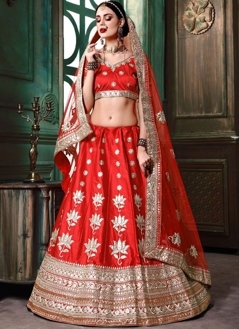 Red Bridal Art Silk Lehenga Choli