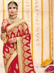 Red Bridal Faux Georgette Classic Saree