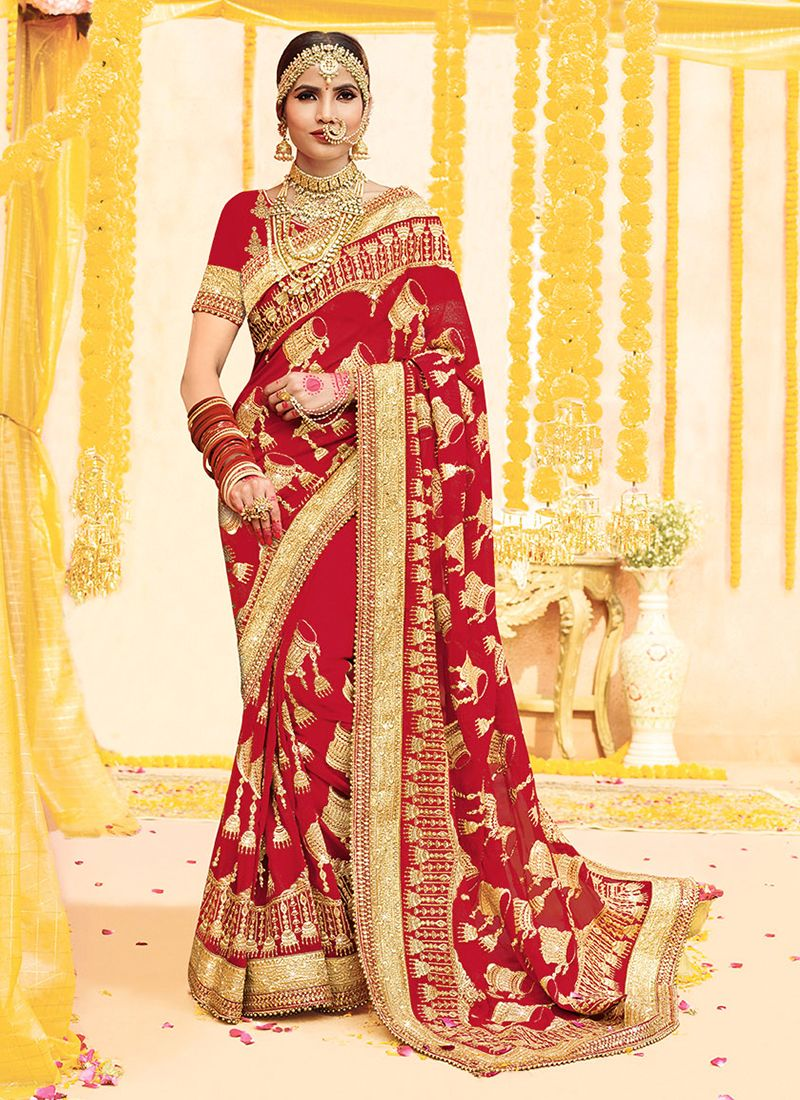 Red Bridal Faux Georgette Saree