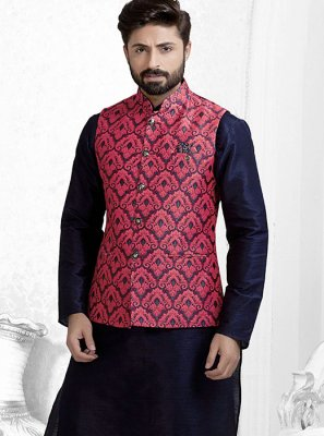 Red Brocade Nehru Jackets