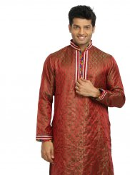Red Brocade Party Kurta Pyjama