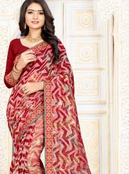 Red Casual Art Silk Printed Saree