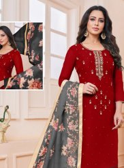 Red Casual Churidar Salwar Suit