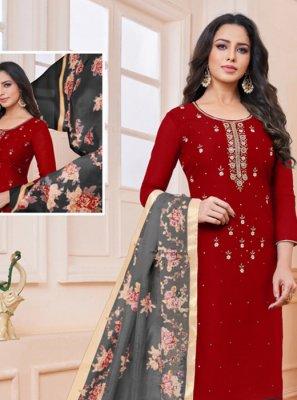 Red Casual Churidar Salwar Suit