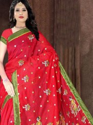 Red Casual Poly Cotton Printed Saree