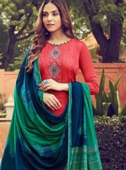 Red Ceremonial Cotton Designer Palazzo Suit