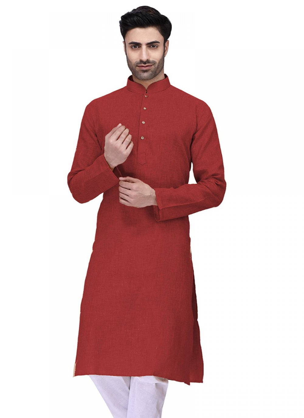 Red Ceremonial Cotton Kurta
