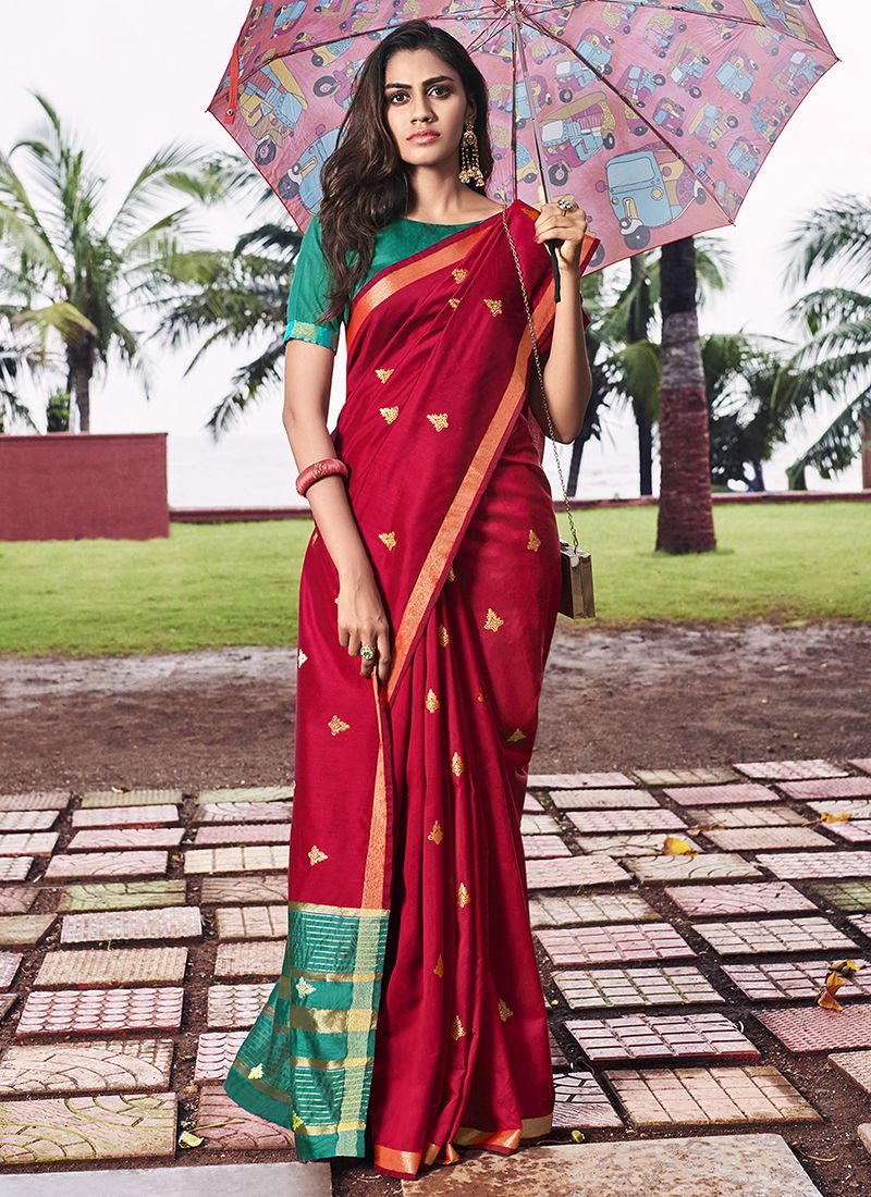 Red Ceremonial Designer Saree