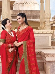 Red Ceremonial Faux Georgette Classic Saree