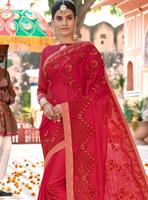 Red Ceremonial Faux Georgette Saree