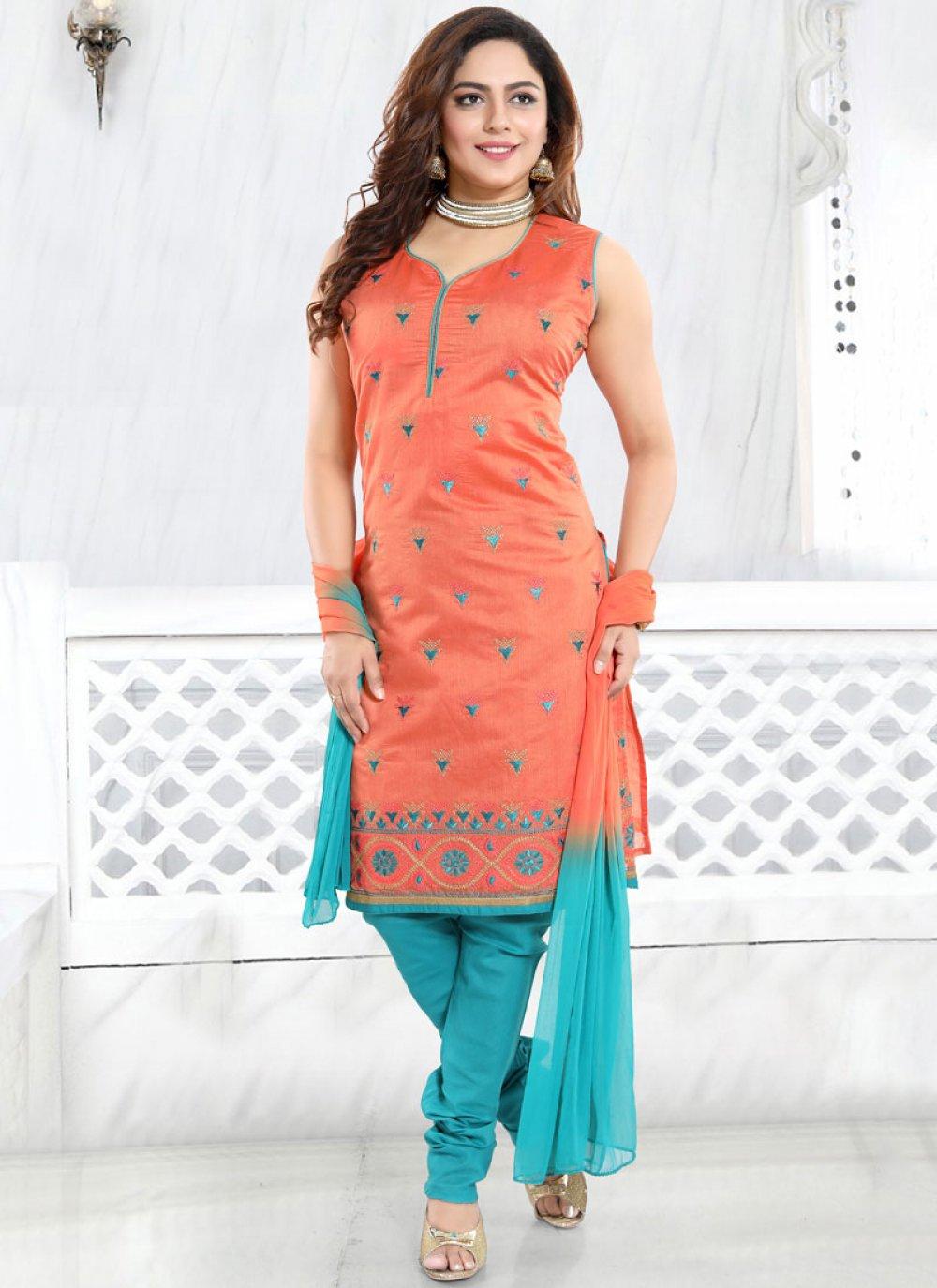 Red Chanderi Churidar Designer Suit