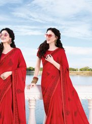 Red Chiffon Satin Embroidered Classic Designer Saree