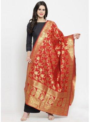 Red Color Designer Dupatta